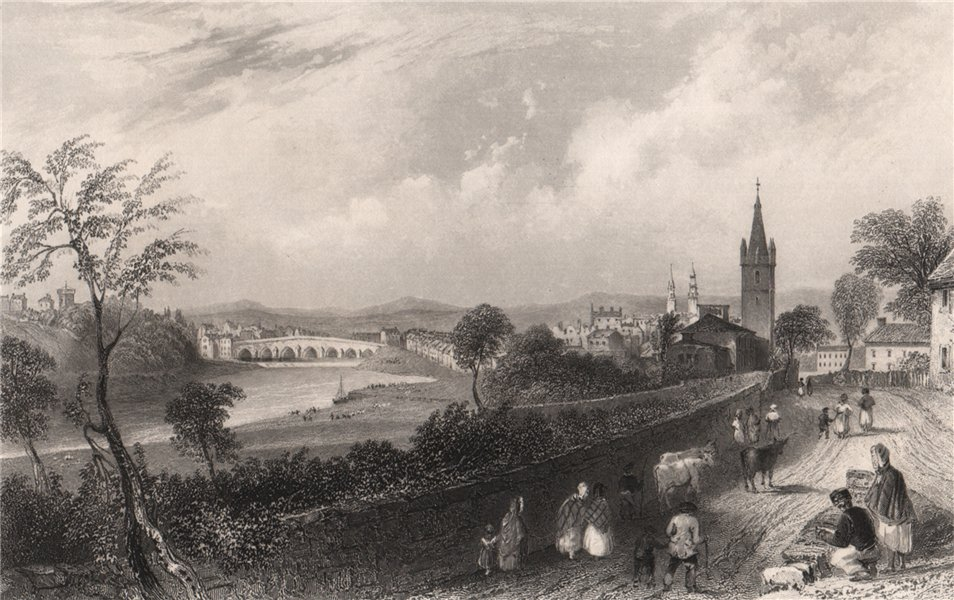 Associate Product The Town of Dumfries. Dumfries-shire. Scotland. BARTLETT 1838 old print
