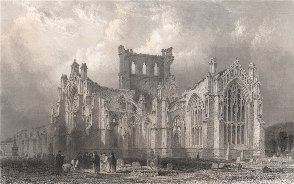 Associate Product Melrose Abbey. Roxburghshire. Scotland. ALLOM 1838 old antique print picture