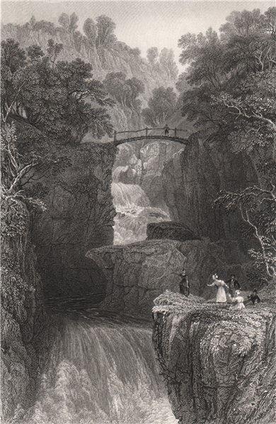 Associate Product Bracklinn Bridge. Near Callander, Perthshire. Scotland. ALLOM 1838 old print