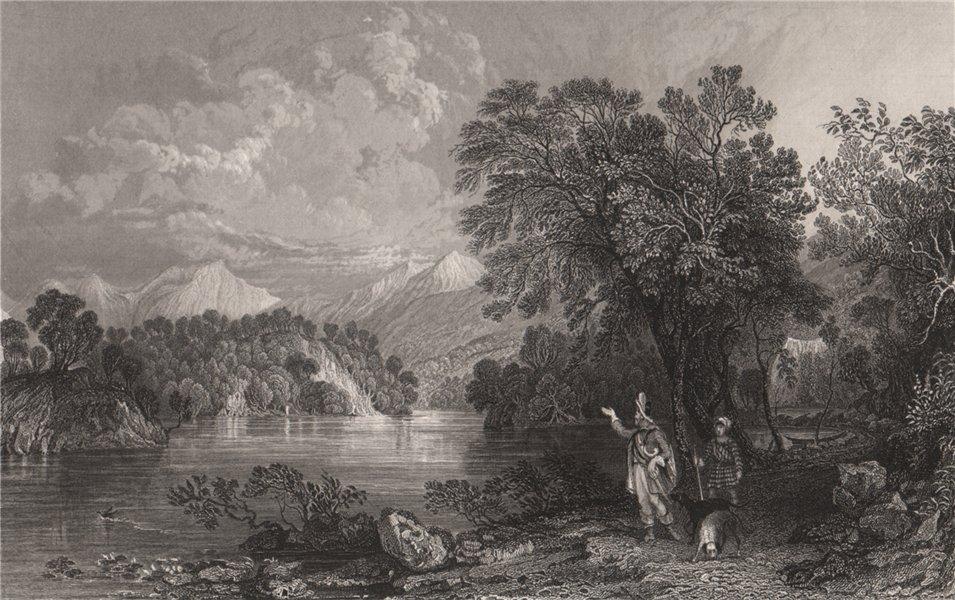 Associate Product Loch Katrine; Looking towards Ellen's Isle. Perthshire. Scotland. ALLOM 1838