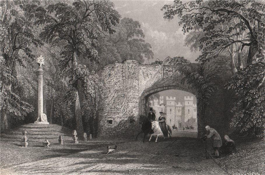 Associate Product Market cross and Palace Gate, Scone. Perthshire. Scotland. ALLOM 1838 print