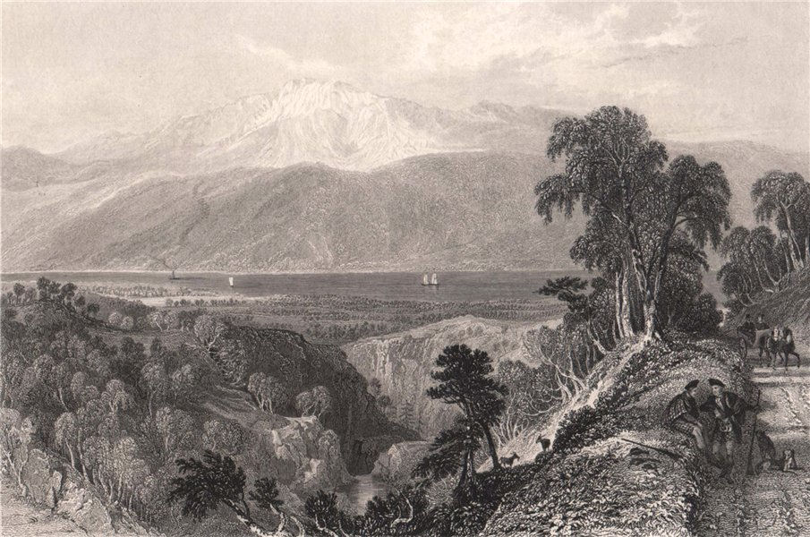 Associate Product Loch Ness from above the Falls of Foyers. Inverness-shire. Scotland. ALLOM 1838