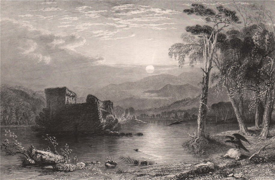 Associate Product Loch an Eilein. Inverness-shire. Scotland. ALLOM 1838 old antique print