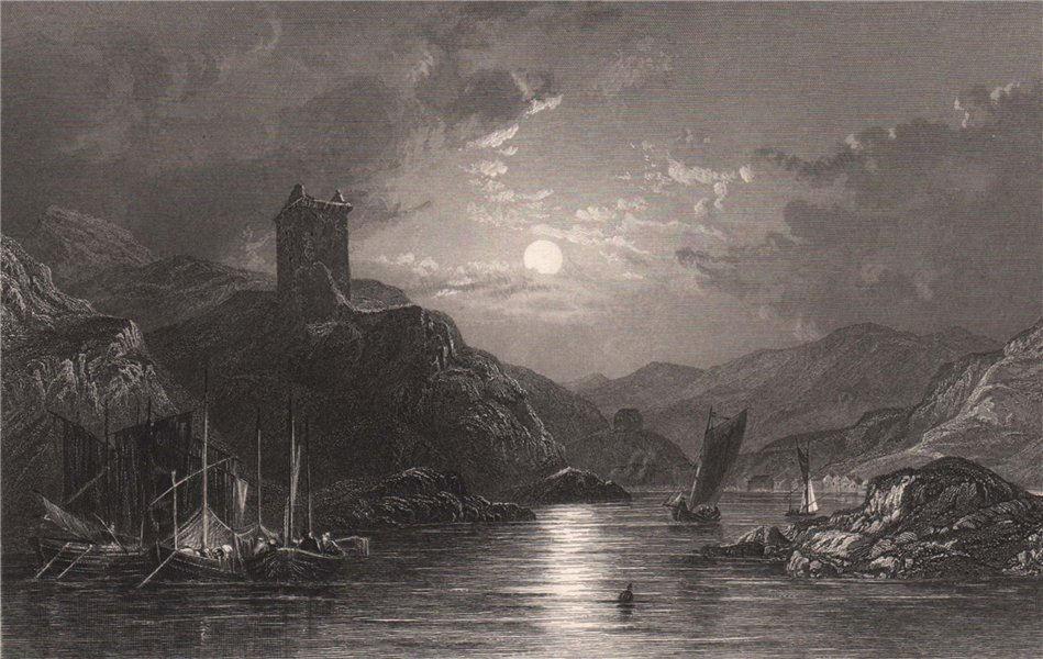 Associate Product Tarbet, from Loch Fyne, looking west. Argyllshire. Scotland. ALLOM 1838 print