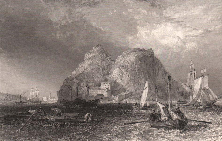 Dumbarton Castle on the Clyde. Dunbartonshire. Scotland. ALLOM 1838 old print