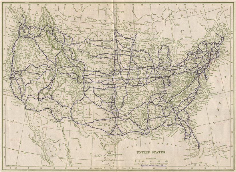 Associate Product United States Highways. POATES 1925 old vintage map plan chart