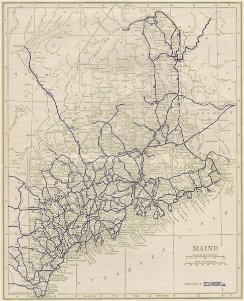 Associate Product Maine State Highways. POATES 1925 old vintage map plan chart