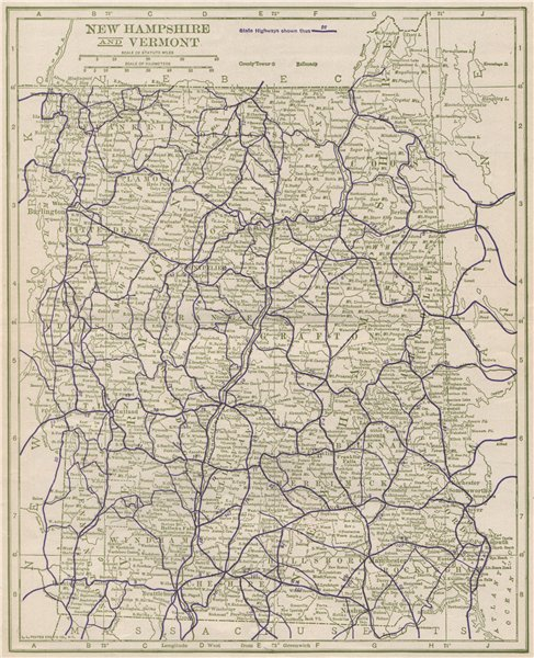 Associate Product New Hampshire and Vermont State Highways. POATES 1925 old vintage map chart