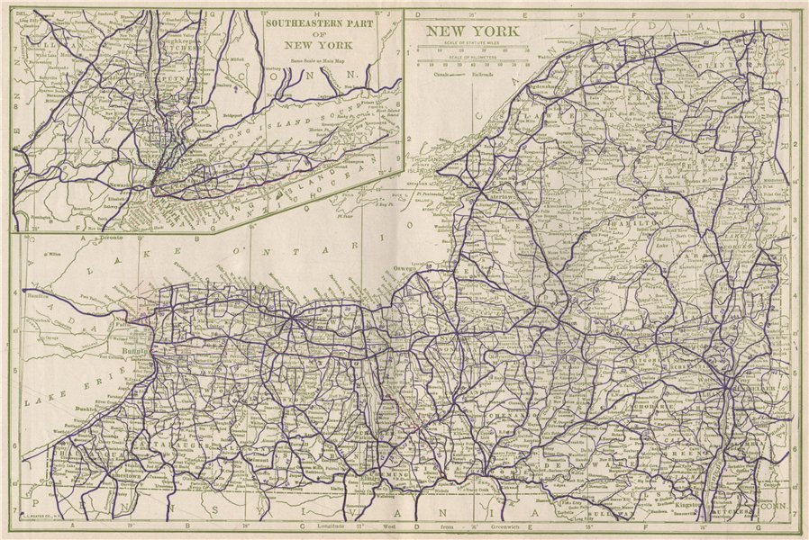Associate Product New York state State Highways. POATES 1925 old vintage map plan chart