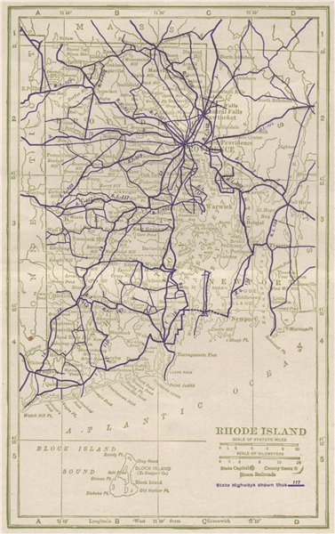 Associate Product Rhode Island State Highways. POATES 1925 old vintage map plan chart