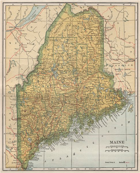 Associate Product Maine state map showing railroads. POATES 1925 old vintage plan chart