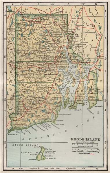 Associate Product Rhode Island state map showing railroads. POATES 1925 old vintage chart