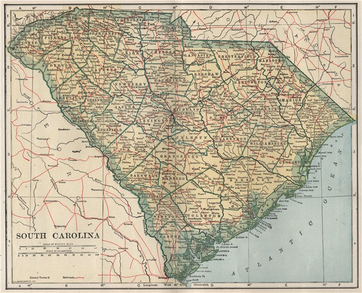 Associate Product South Carolina state map showing railroads. POATES 1925 old vintage chart