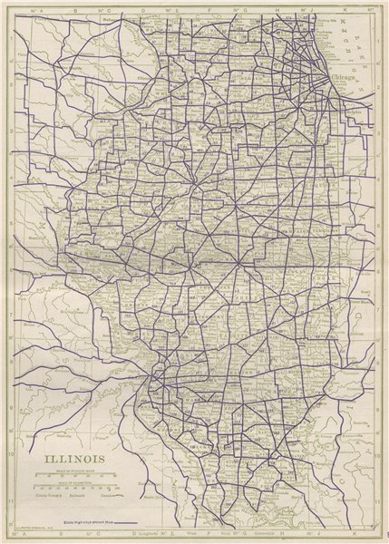 Associate Product Illinois State Highways. POATES 1925 old vintage map plan chart