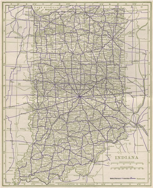 Associate Product Indiana State Highways. POATES 1925 old vintage map plan chart