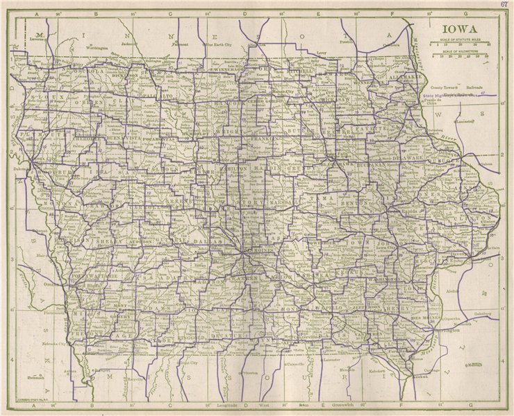 Associate Product Iowa State Highways. POATES 1925 old vintage map plan chart