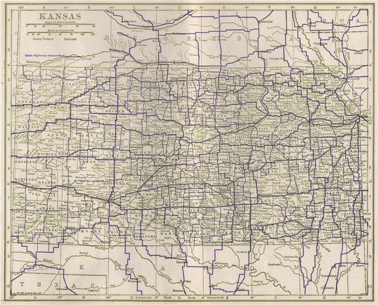 Associate Product Kansas State Highways. POATES 1925 old vintage map plan chart