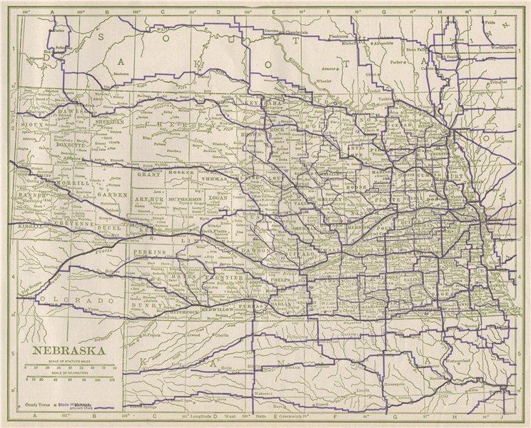 Nebraska State Highways. POATES 1925 old vintage map plan chart