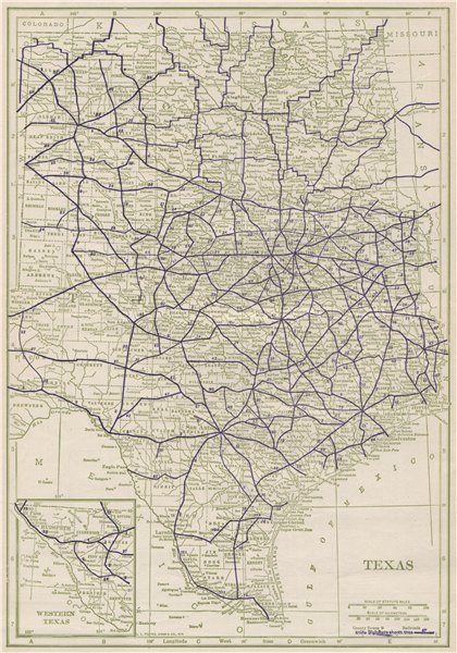 Associate Product Texas State Highways. POATES 1925 old vintage map plan chart