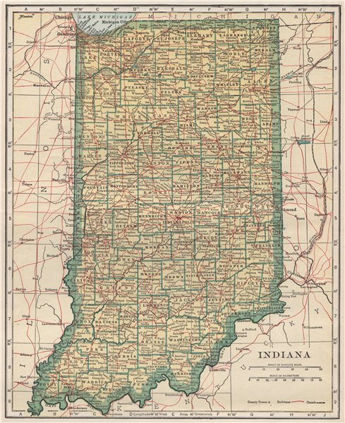 Associate Product Indiana state map showing railroads. POATES 1925 old vintage plan chart
