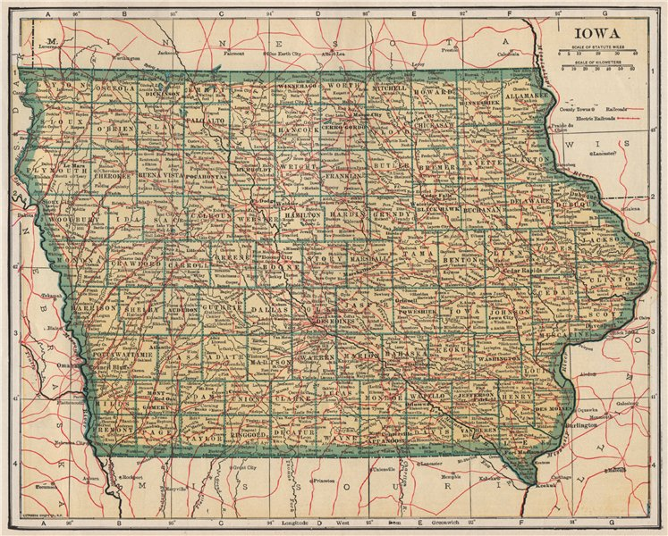 Associate Product Iowa state map showing railroads. POATES 1925 old vintage plan chart