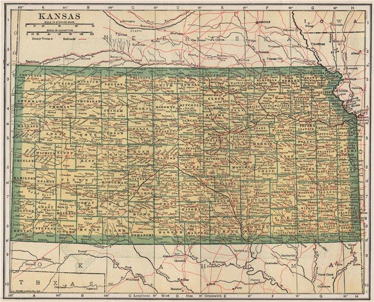 Associate Product Kansas state map showing railroads. POATES 1925 old vintage plan chart
