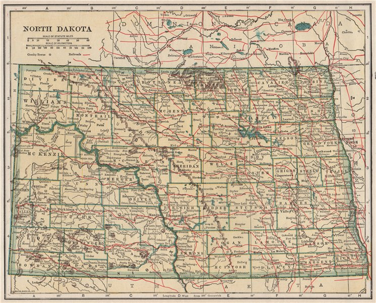 Associate Product North Dakota state map showing railroads. POATES 1925 old vintage chart