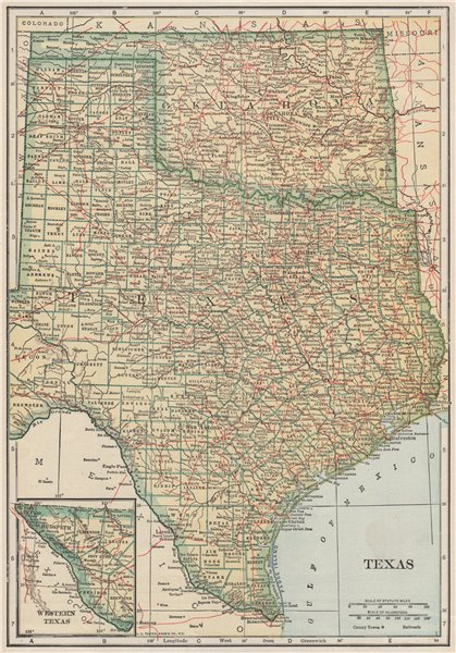 Associate Product Texas state map showing railroads. POATES 1925 old vintage plan chart