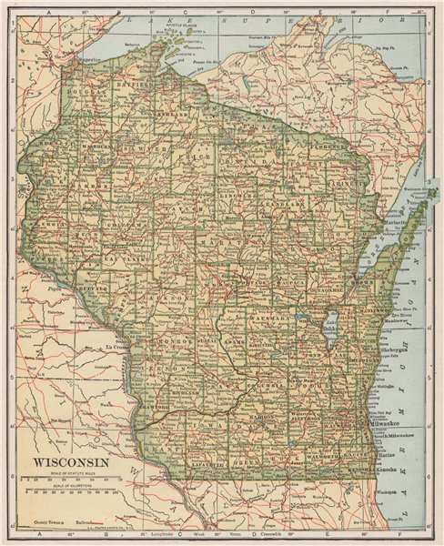 Associate Product Wisconsin state map showing railroads. POATES 1925 old vintage plan chart