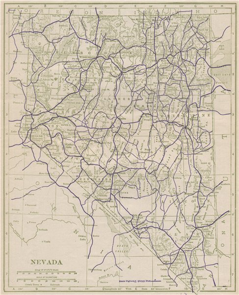 Associate Product Nevada State Highways. POATES 1925 old vintage map plan chart