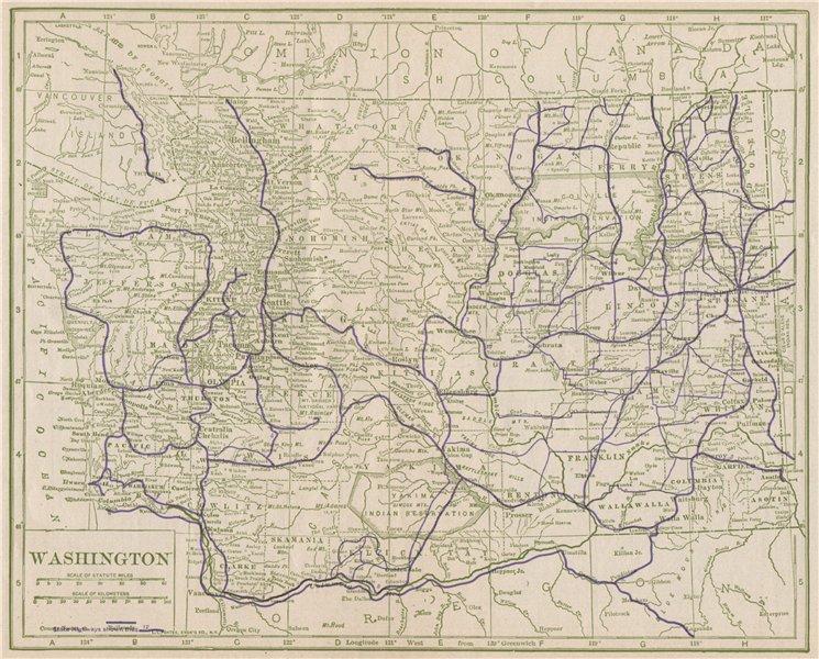 Associate Product Washington State Highways. POATES 1925 old vintage map plan chart