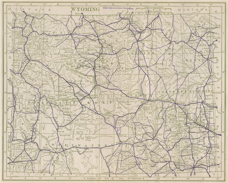 Associate Product Wyoming State Highways. POATES 1925 old vintage map plan chart