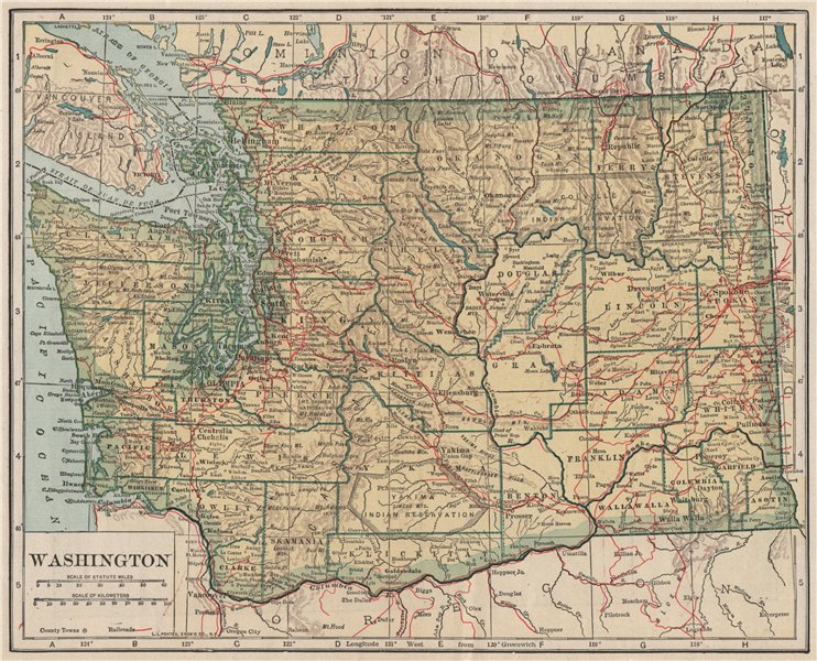 Associate Product Washington state map showing railroads. POATES 1925 old vintage plan chart