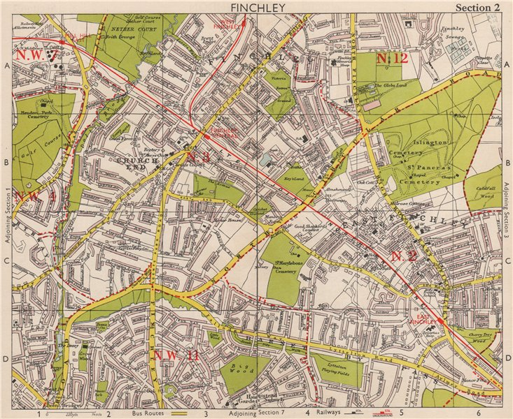 Associate Product NW LONDON Finchley Church End Mill Hill Hampstead Garden Surburb.BACON 1959 map