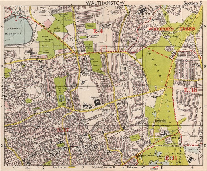 NE LONDON. Walthamstow Highams Park Chapel End Epping Forest. BACON 1959 map