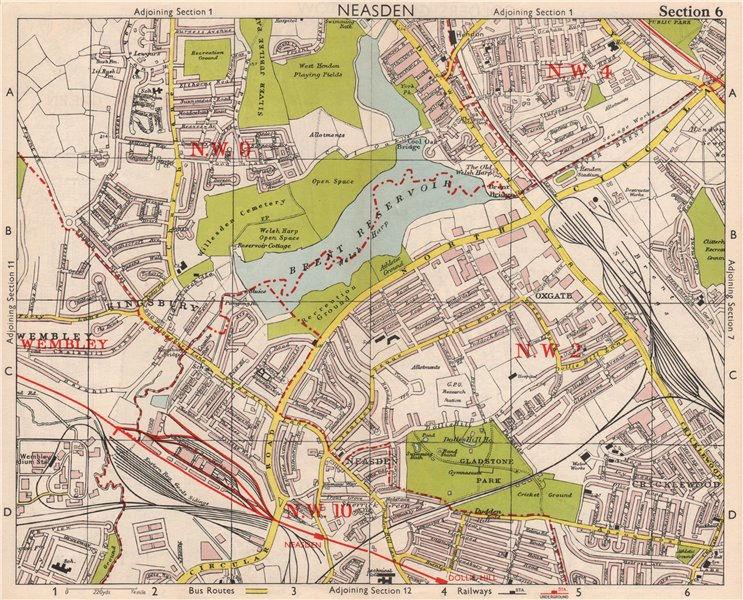 Associate Product NW LONDON. Neasden Cricklewood Hendon Kingsbury Oxgate Brent. BACON 1959 map