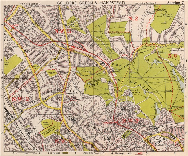 Associate Product NW LONDON. Golders Green Hampstead Child's Hill Cricklewood. BACON 1959 map
