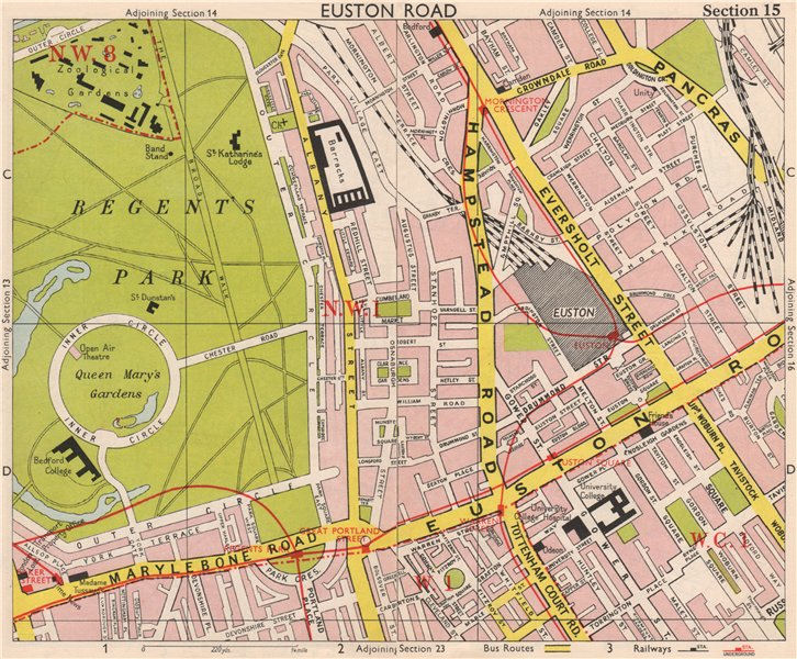 Associate Product LONDON W1 WC1 NW1 Euston Regent's Park Bloomsbury Fitzrovia. BACON 1959 map