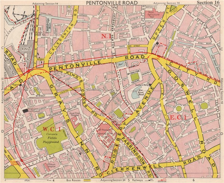 Associate Product LONDON WC1 EC1 N1 Pentonville Bloomsbury Finsbury Islington. BACON 1959 map