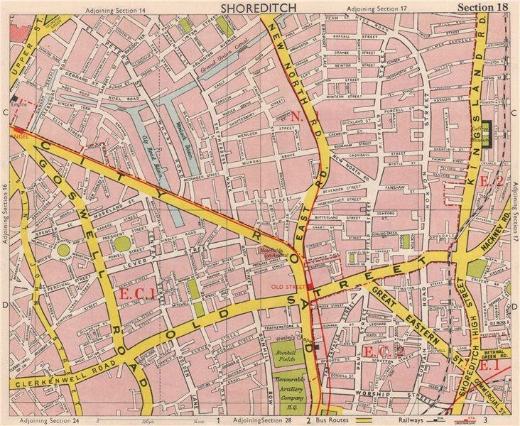 Associate Product LONDON EC1 EC2 N1 Shoreditch Hoxton Old Street Clerkenwell. BACON 1959 map