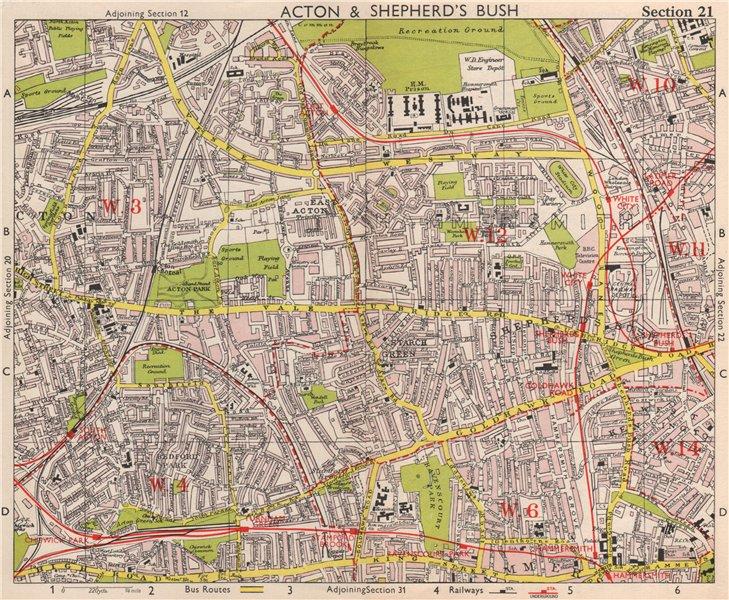 Associate Product W LONDON. Acton Shepherd's Bush Brook Green West Kensington. BACON 1959 map