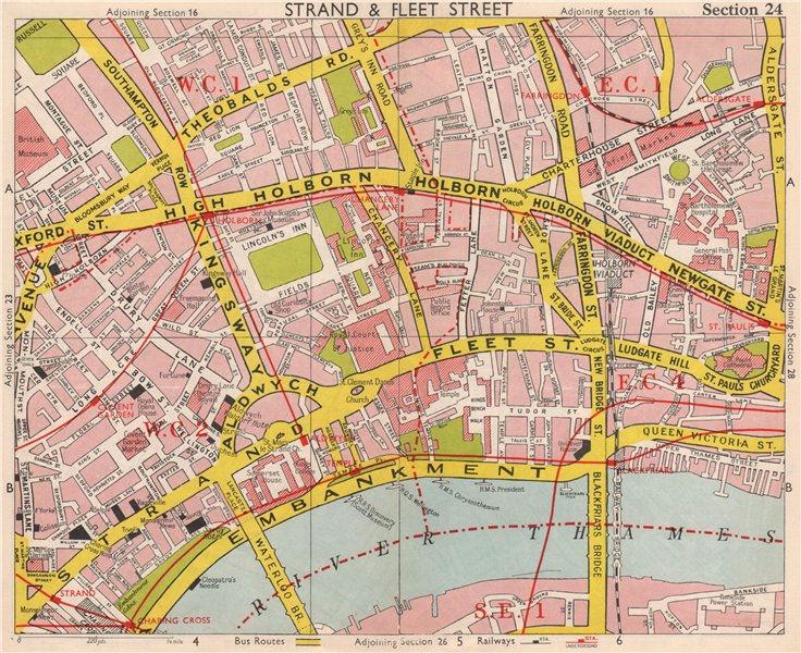 Associate Product LONDON WC2 EC4 WC1 EC1. Covent Garden Holborn St Paul's Strand. BACON 1959 map