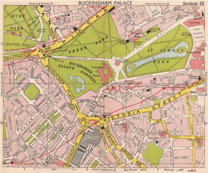 Victoria London Map.Details About London Sw1 Belgravia Victoria Westminster Green St James S Park Bacon 1959 Map