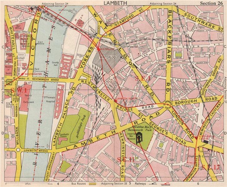 Associate Product LONDON SE1 SE11 SW1 Lambeth Waterlook Elephant & Castle Whitehall.BACON 1959 map