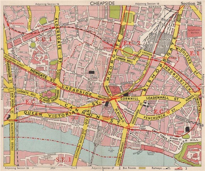 Associate Product CITY OF LONDON EC1 EC2 EC3 EC4. Post Office. Broad street station.BACON 1959 map