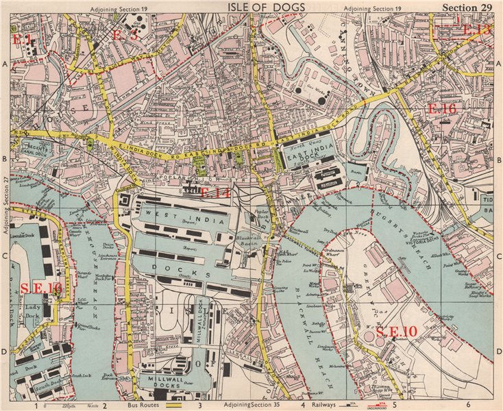 Associate Product E LONDON Surrey Docks Isle of Dogs Canning Town Poplar Limehouse.BACON 1959 map