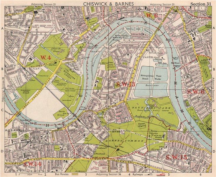 Associate Product SW LONDON. Chiswick Barnes Castlenau Fulham Hammersmith Mortlake.BACON 1959 map