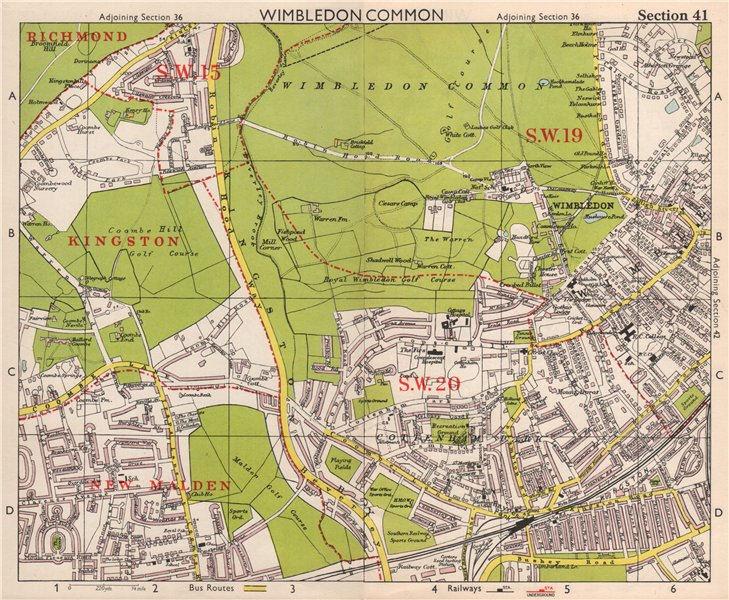 Associate Product SW LONDON. Wimbledon Common Cottenham Park Malden Coombe Hill. BACON 1959 map