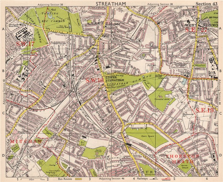 Associate Product S LONDON. Streatham/Vale Norbury Tooting Bec West Norwood. BACON 1959 old map