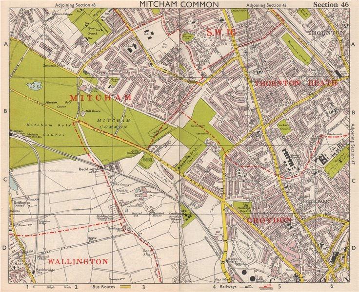 Associate Product S LONDON. Mitcham Common Thornton Heath Croydon Beddington. BACON 1959 old map